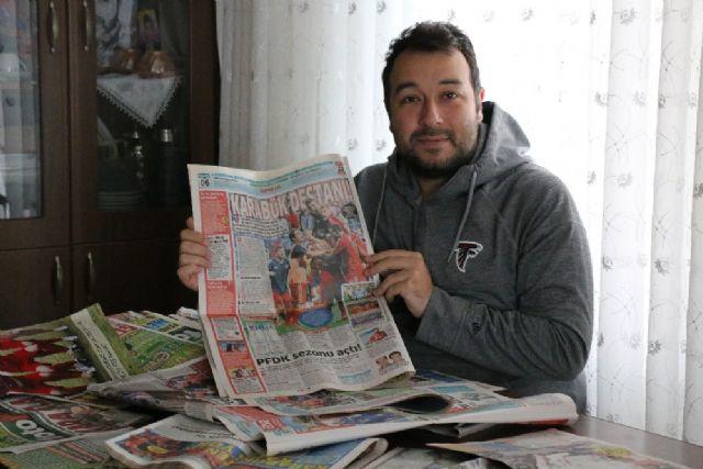 """Biriktirdiği gazete küpürlerinden """"Karabükspor' belgeseli duygulandırdı"""