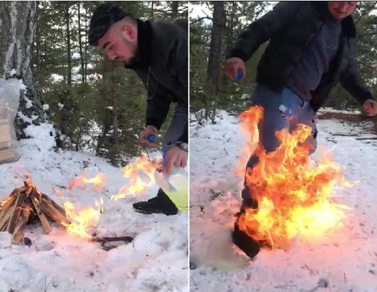 Ateşi benzinle harlarken kendini yakıyordu