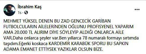 Karabükspor Başkanı'ndan futbolcusuna küfürlü mesaj
